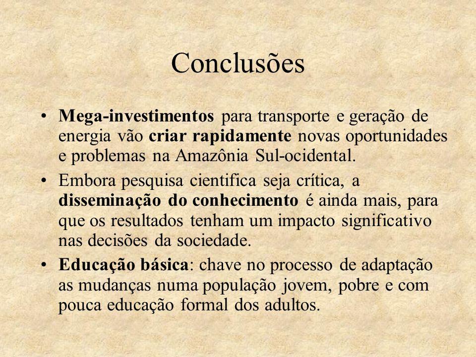 Conclusões Mega-investimentos para transporte e geração de energia vão criar rapidamente novas oportunidades e problemas na Amazônia Sul-ocidental.