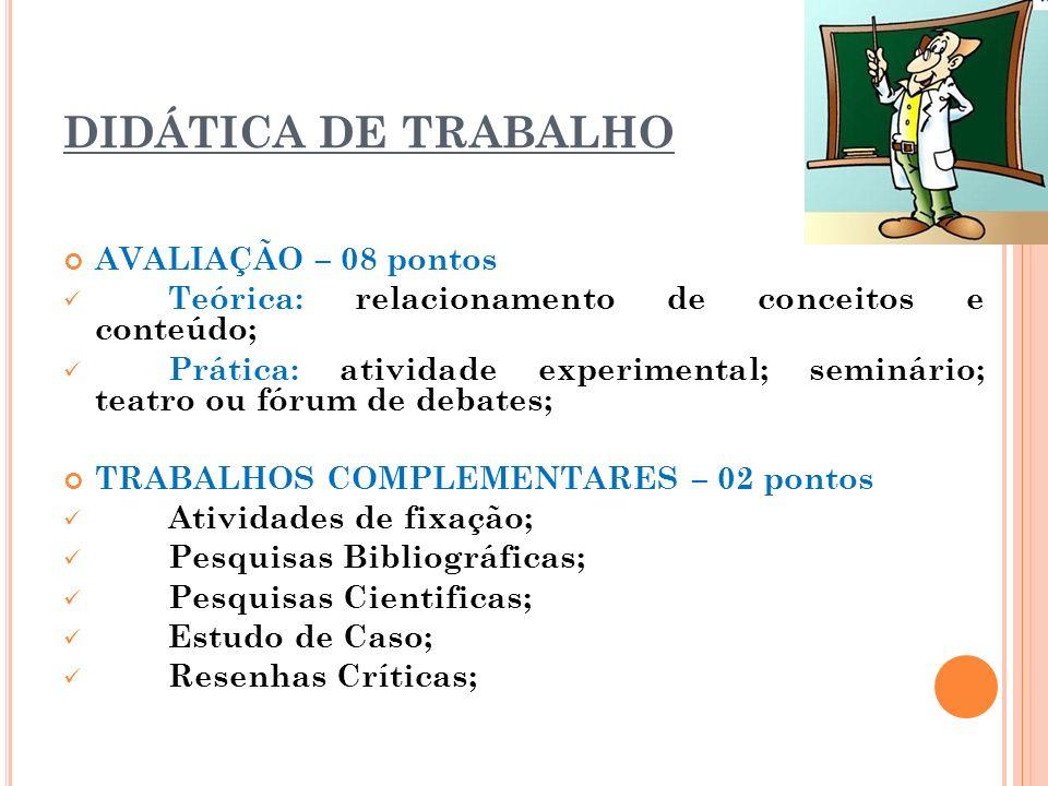 DIDÁTICA DE TRABALHO AVALIAÇÃO – 08 pontos