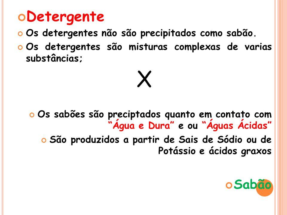 X Detergente Sabão Os detergentes não são precipitados como sabão.