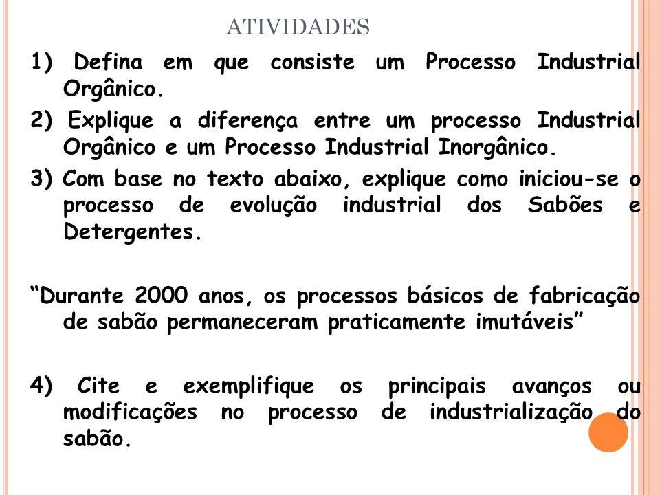 atividades 1) Defina em que consiste um Processo Industrial Orgânico.
