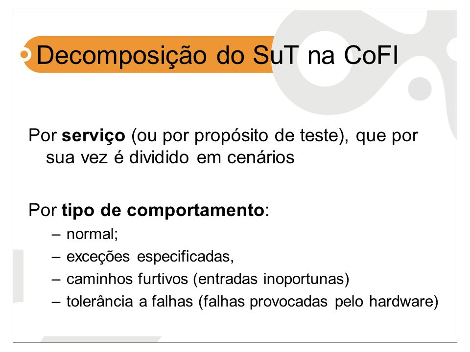 Decomposição do SuT na CoFI