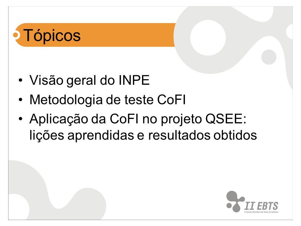 Tópicos Visão geral do INPE Metodologia de teste CoFI