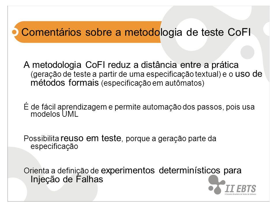 Comentários sobre a metodologia de teste CoFI