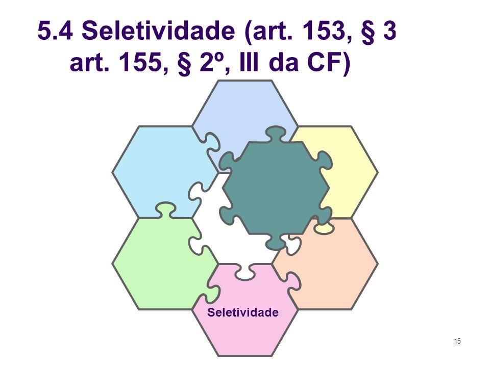 5.4 Seletividade (art. 153, § 3º, I; art. 155, § 2º, III da CF)