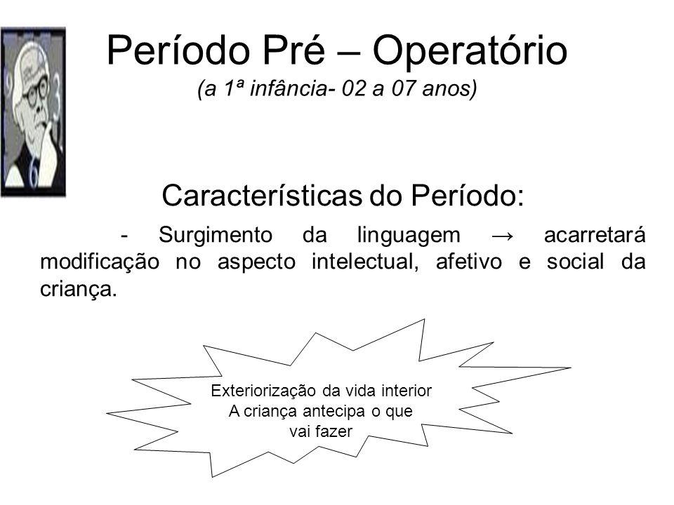 Período Pré – Operatório (a 1ª infância- 02 a 07 anos)