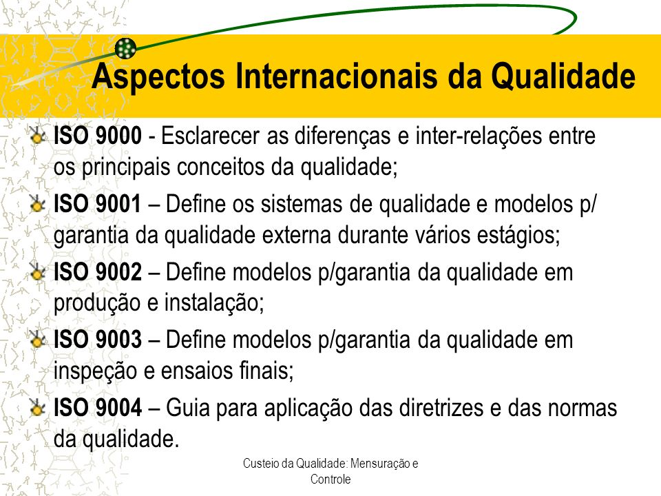 Aspectos Internacionais da Qualidade