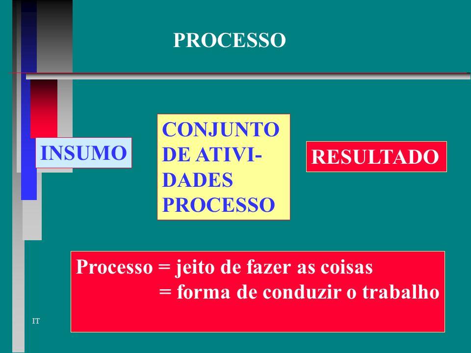PROCESSO CONJUNTO. DE ATIVI- DADES. PROCESSO. INSUMO. RESULTADO. Processo = jeito de fazer as coisas.