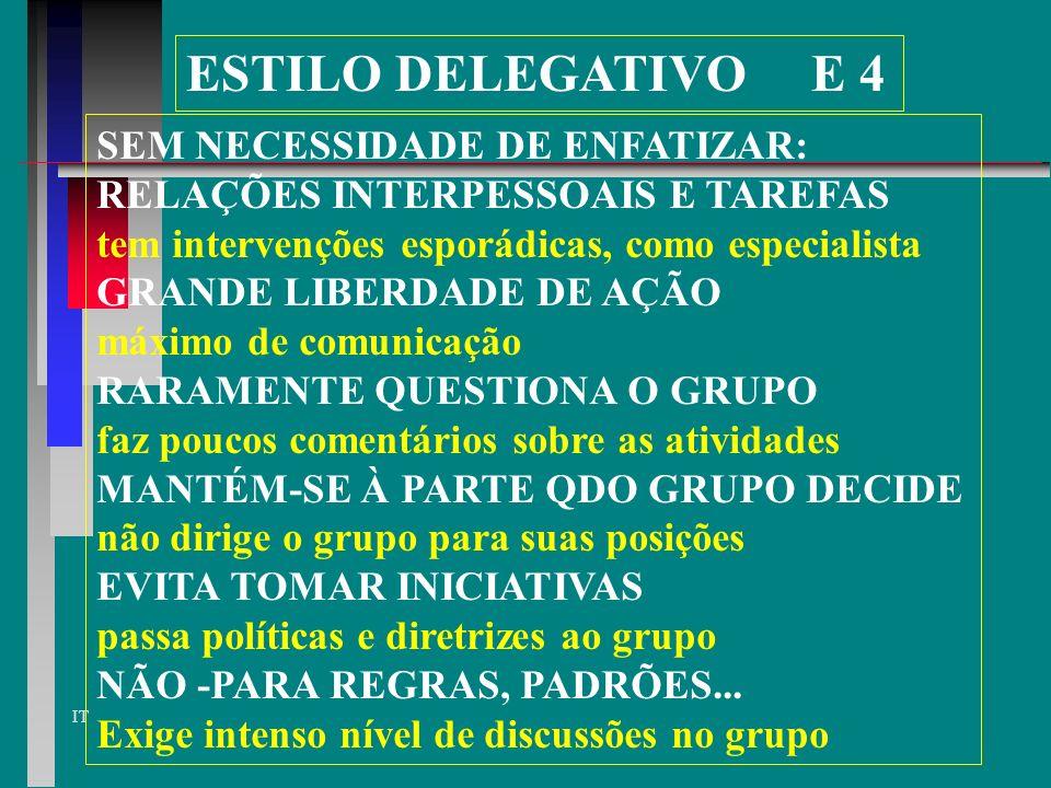 ESTILO DELEGATIVO E 4 SEM NECESSIDADE DE ENFATIZAR:
