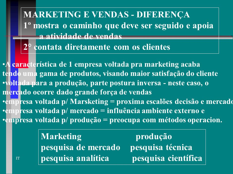 MARKETING E VENDAS - DIFERENÇA