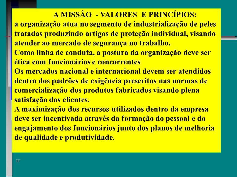 A MISSÃO - VALORES E PRINCÍPIOS: