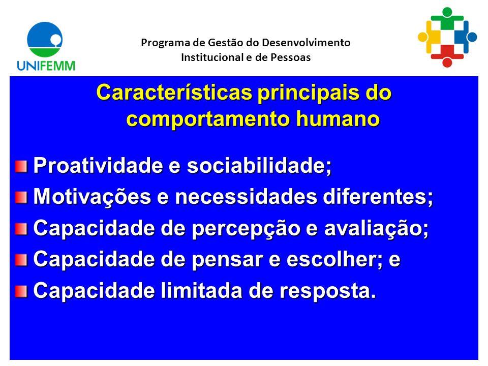 Características principais do comportamento humano