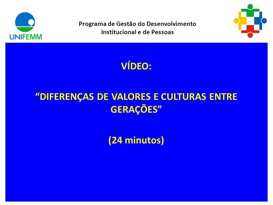 VÍDEO: DIFERENÇAS DE VALORES E CULTURAS ENTRE GERAÇÕES (24 minutos)