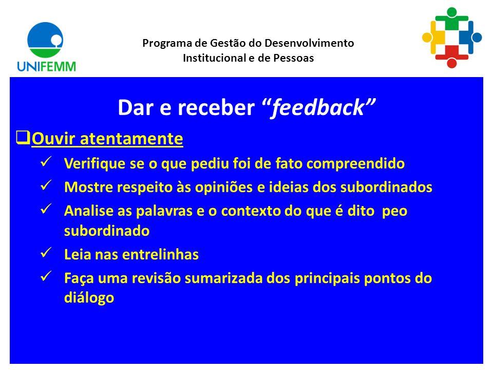 Dar e receber feedback