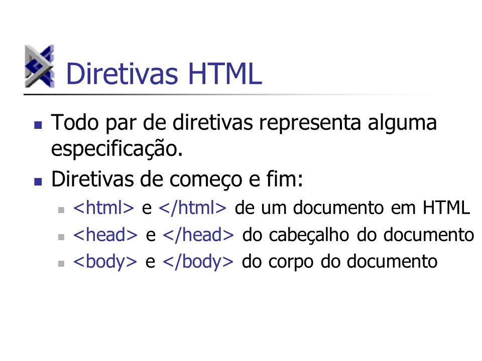 Diretivas HTML Todo par de diretivas representa alguma especificação.