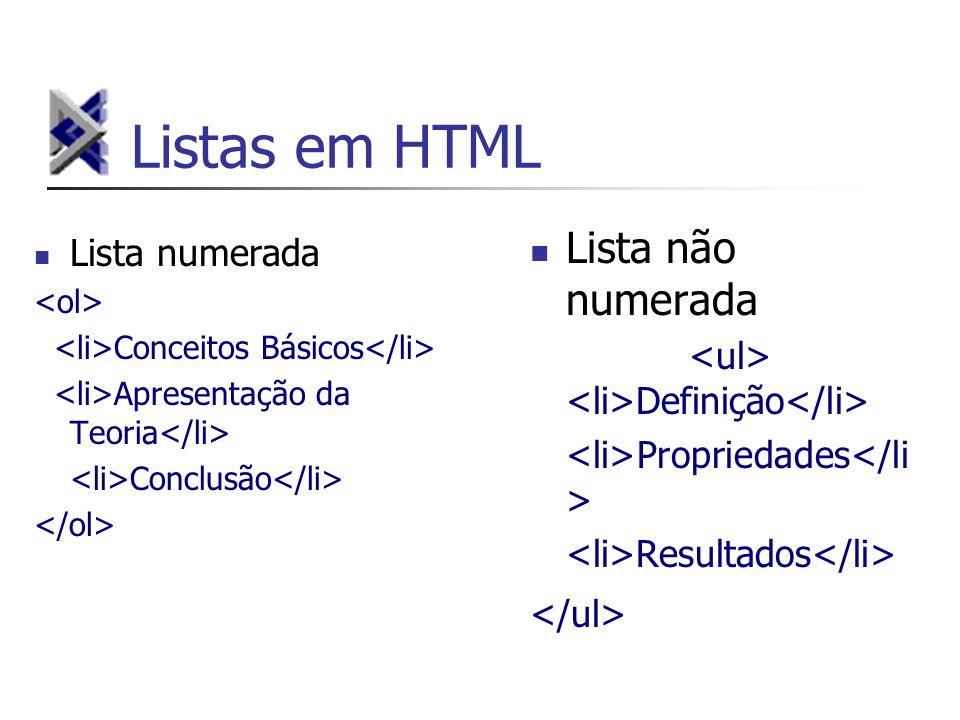 Listas em HTML Lista não numerada Lista numerada
