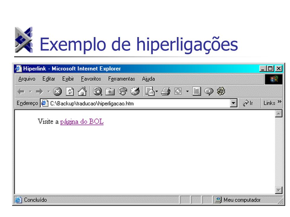 Exemplo de hiperligações