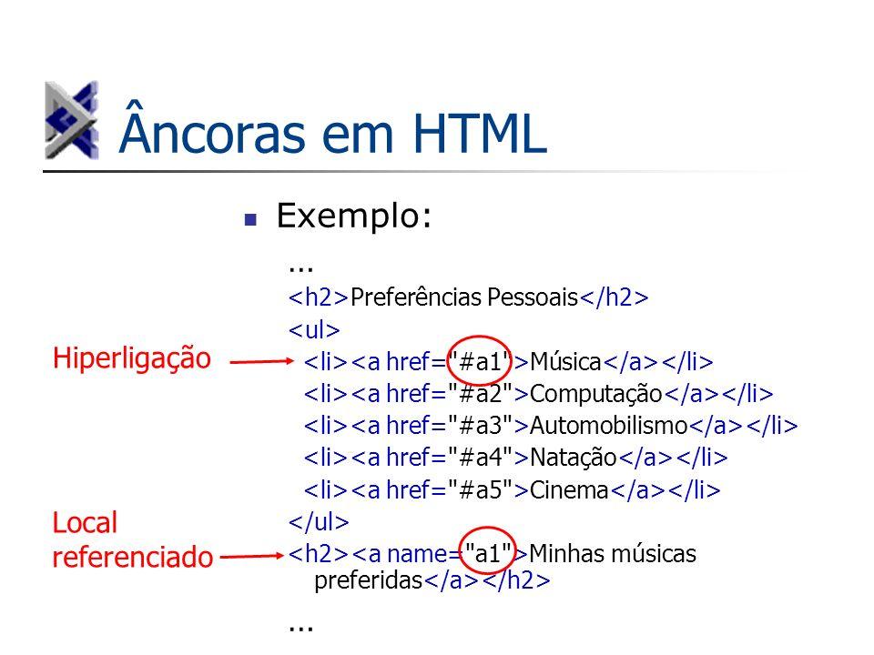 Âncoras em HTML Exemplo: … Hiperligação Local referenciado