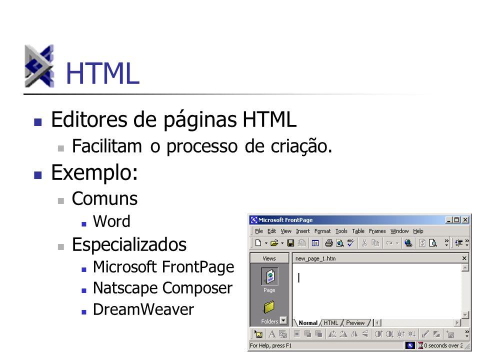 HTML Editores de páginas HTML Exemplo: