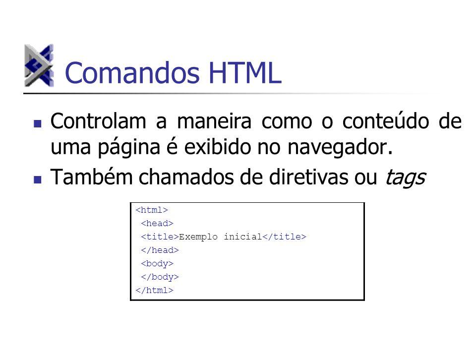 Comandos HTMLControlam a maneira como o conteúdo de uma página é exibido no navegador. Também chamados de diretivas ou tags.