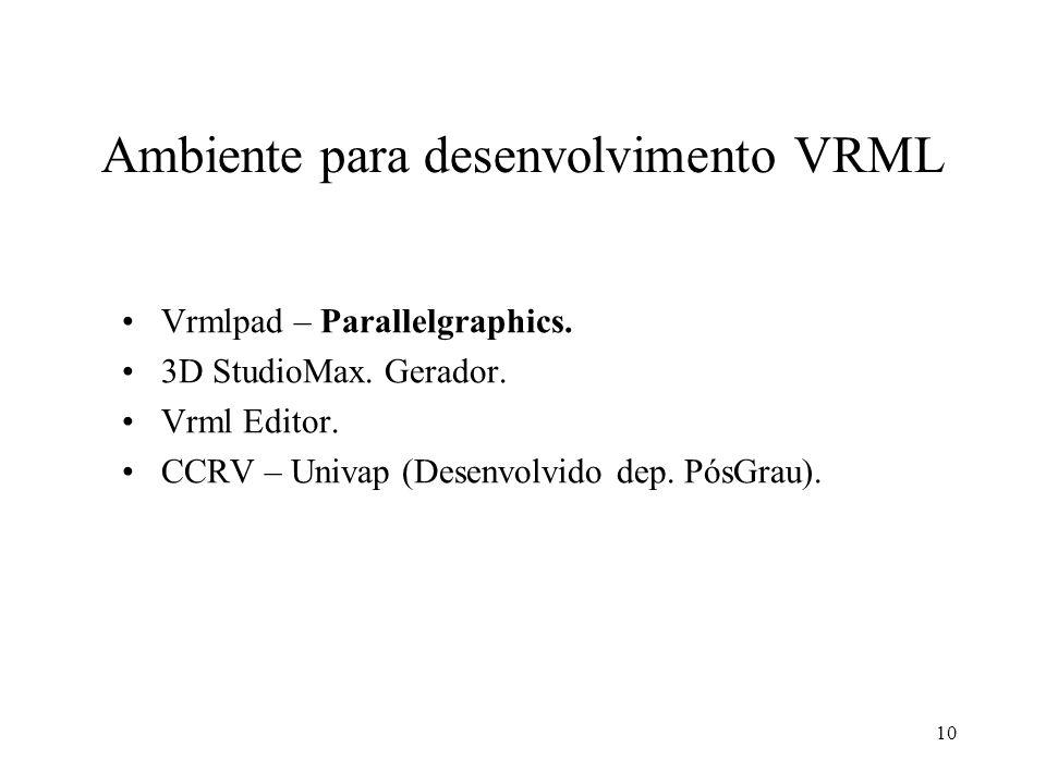 Ambiente para desenvolvimento VRML