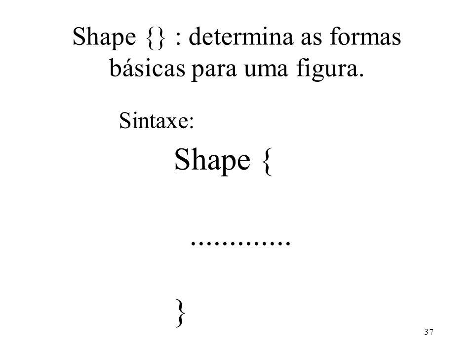 Shape {} : determina as formas básicas para uma figura.