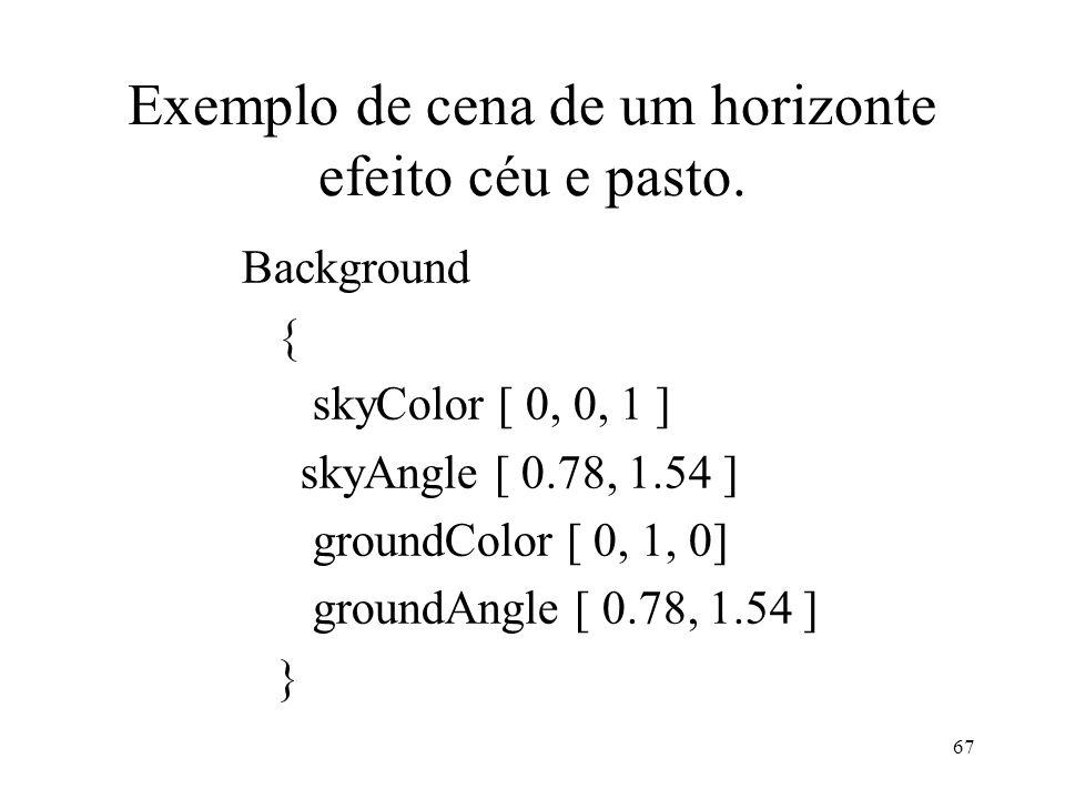 Exemplo de cena de um horizonte efeito céu e pasto.