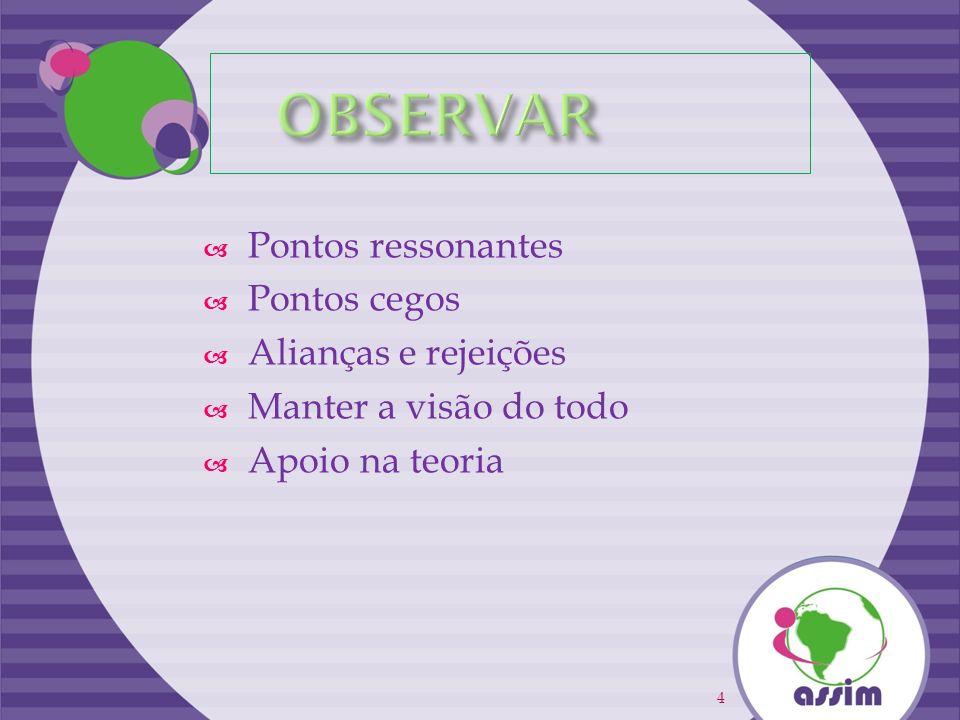 OBSERVAR Pontos ressonantes Pontos cegos Alianças e rejeições