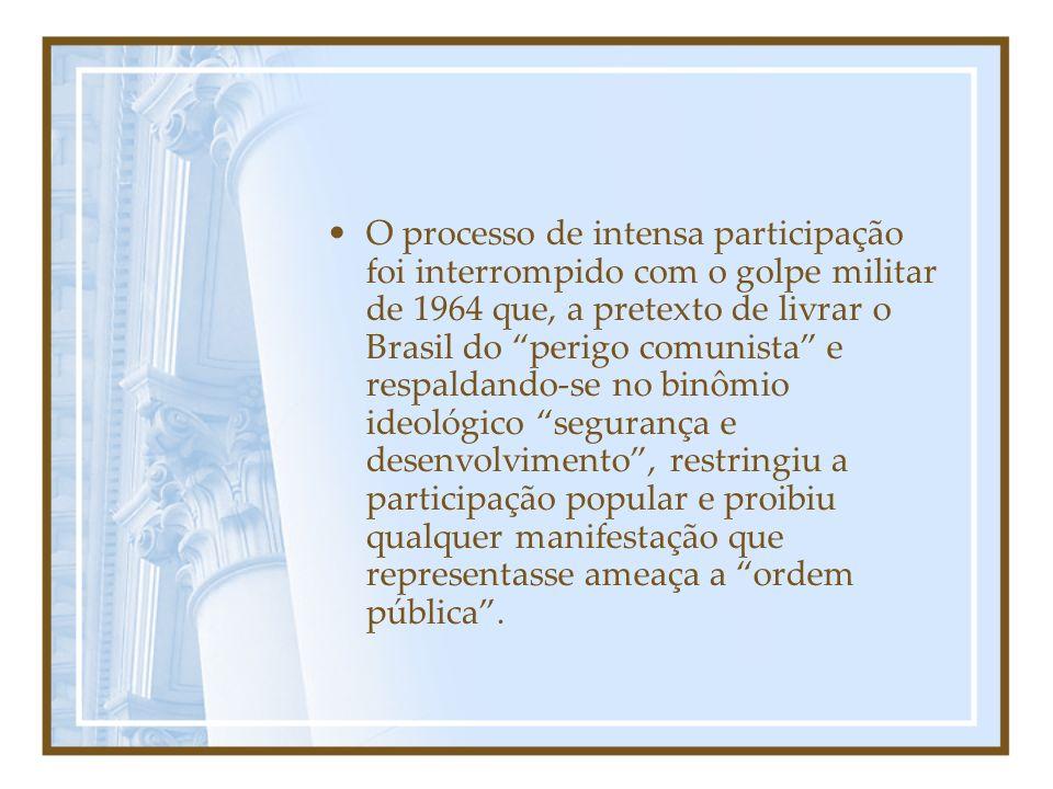 O processo de intensa participação foi interrompido com o golpe militar de 1964 que, a pretexto de livrar o Brasil do perigo comunista e respaldando-se no binômio ideológico segurança e desenvolvimento , restringiu a participação popular e proibiu qualquer manifestação que representasse ameaça a ordem pública .