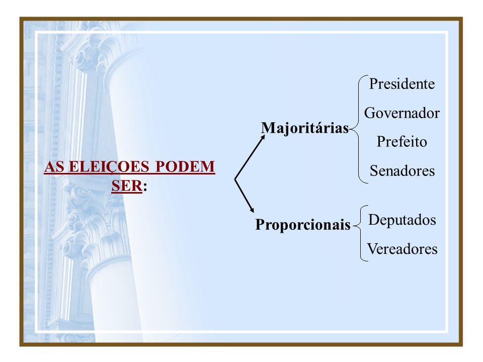 AS ELEIÇOES PODEM SER: Majoritárias. Proporcionais. Presidente. Governador. Prefeito. Senadores.