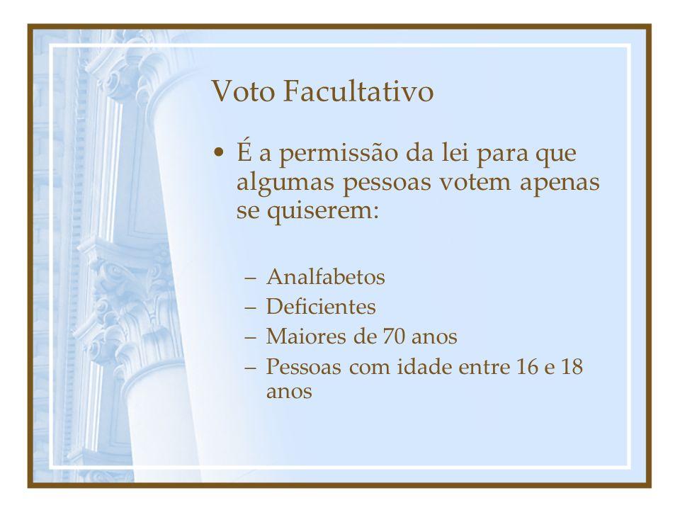 Voto Facultativo É a permissão da lei para que algumas pessoas votem apenas se quiserem: Analfabetos.