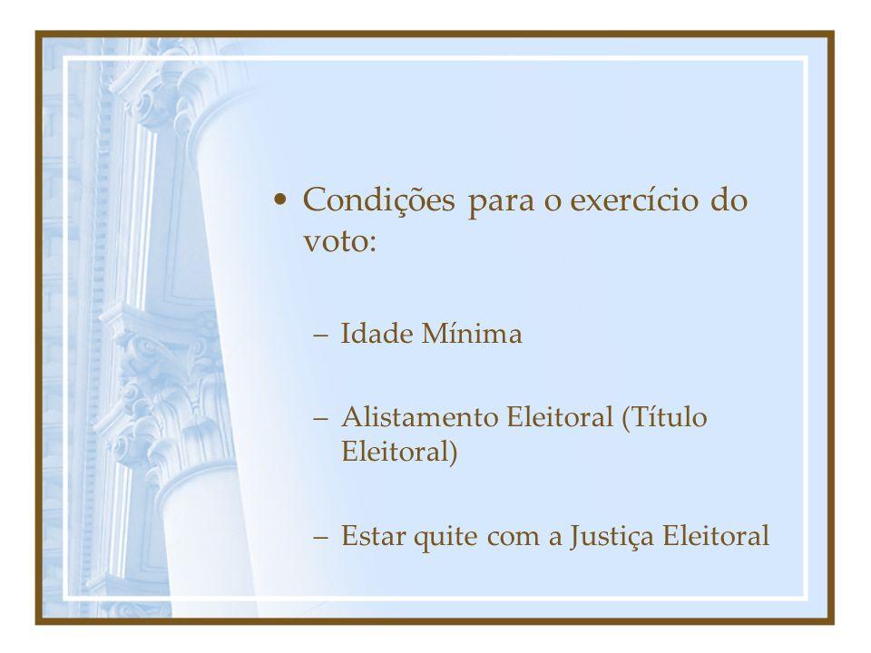 Condições para o exercício do voto: