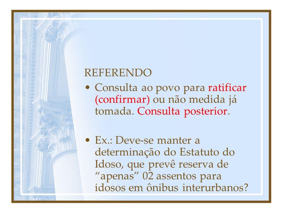 REFERENDO Consulta ao povo para ratificar (confirmar) ou não medida já tomada. Consulta posterior.