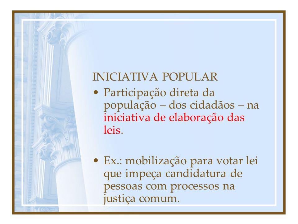 INICIATIVA POPULAR Participação direta da população – dos cidadãos – na iniciativa de elaboração das leis.