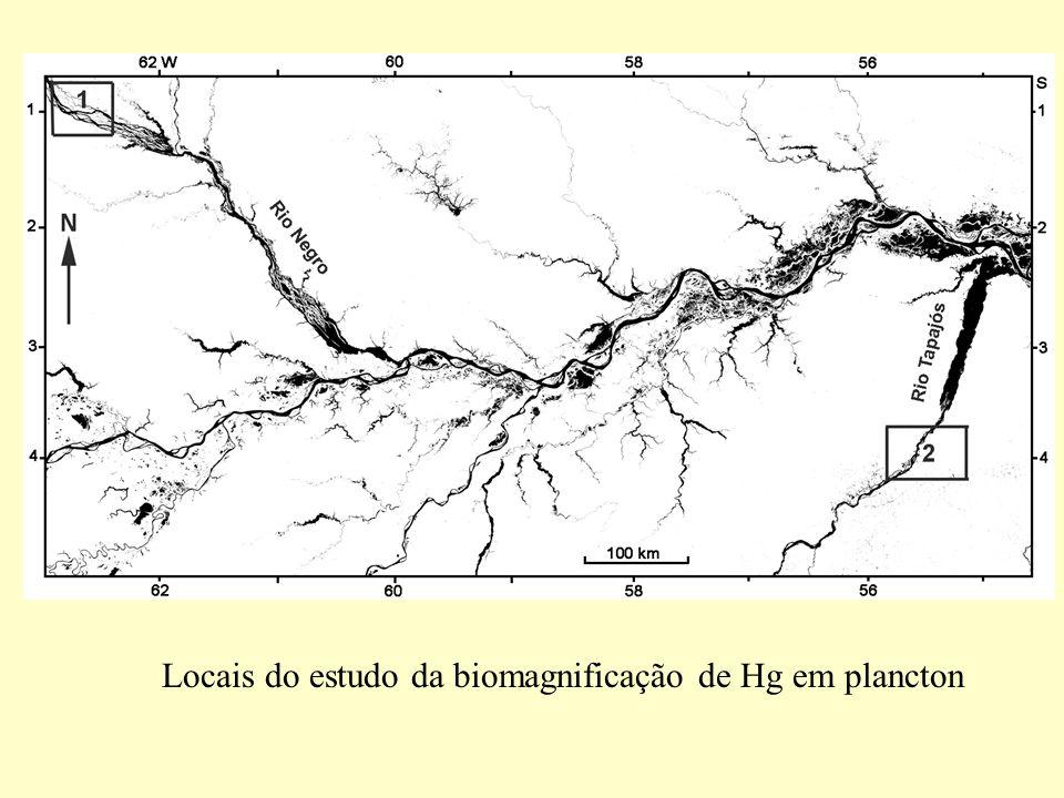 Locais do estudo da biomagnificação de Hg em plancton