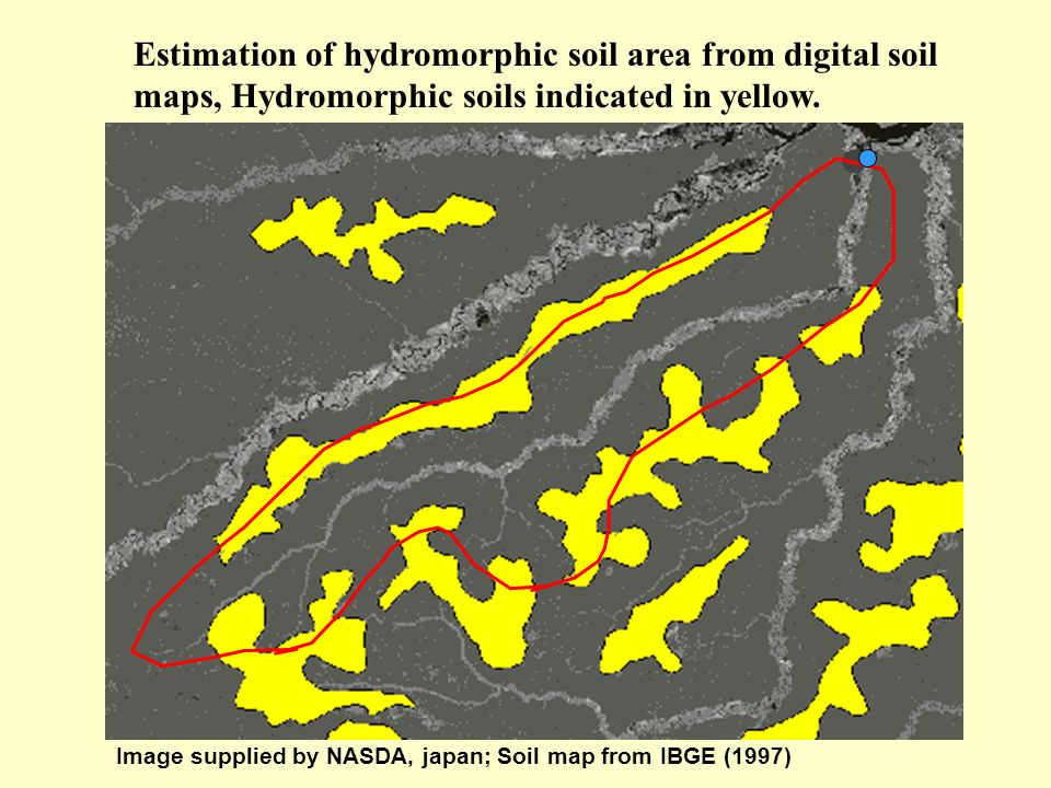 Estimation of hydromorphic soil area from digital soil maps, Hydromorphic soils indicated in yellow.