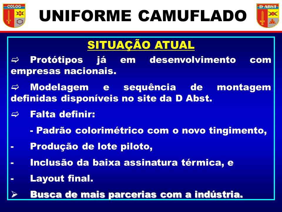 UNIFORME CAMUFLADO SITUAÇÃO ATUAL