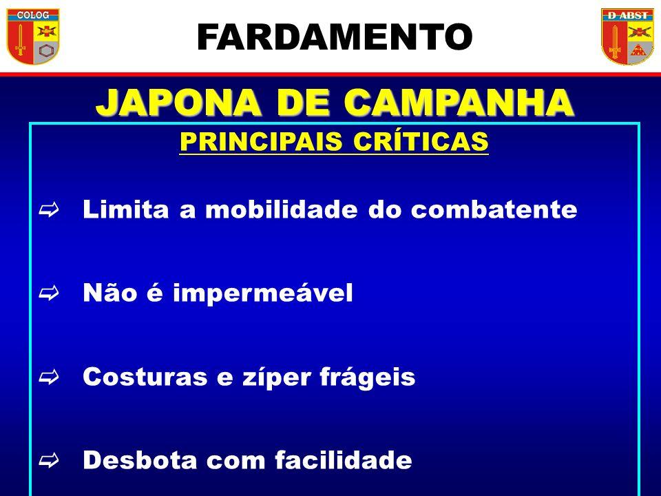 FARDAMENTO JAPONA DE CAMPANHA PRINCIPAIS CRÍTICAS