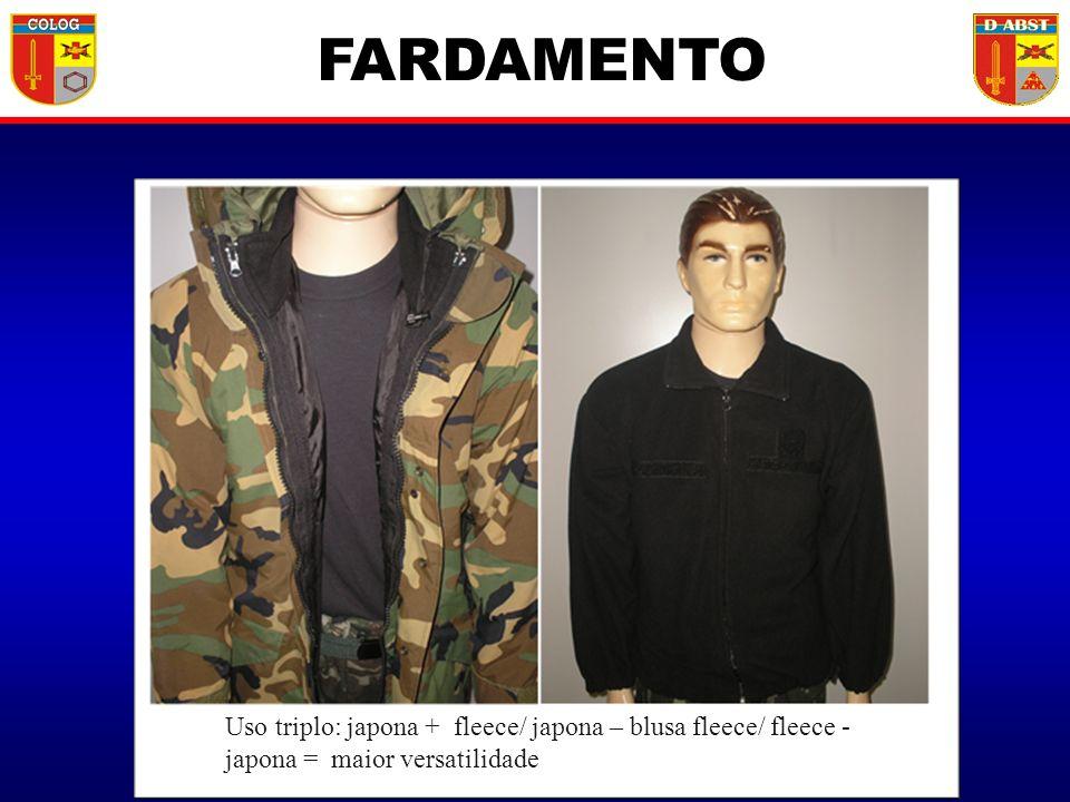 FARDAMENTO Uso triplo: japona + fleece/ japona – blusa fleece/ fleece - japona = maior versatilidade.
