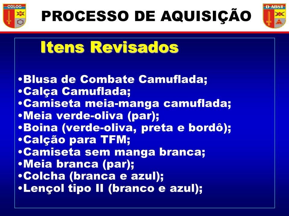 PROCESSO DE AQUISIÇÃO Itens Revisados Blusa de Combate Camuflada;