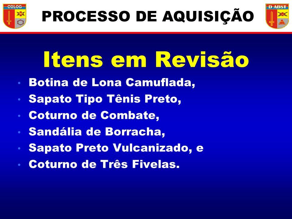 Itens em Revisão PROCESSO DE AQUISIÇÃO Botina de Lona Camuflada,