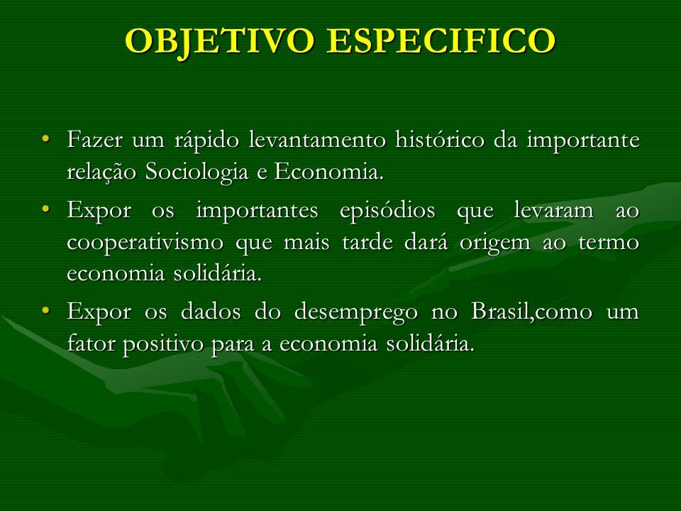 OBJETIVO ESPECIFICO Fazer um rápido levantamento histórico da importante relação Sociologia e Economia.