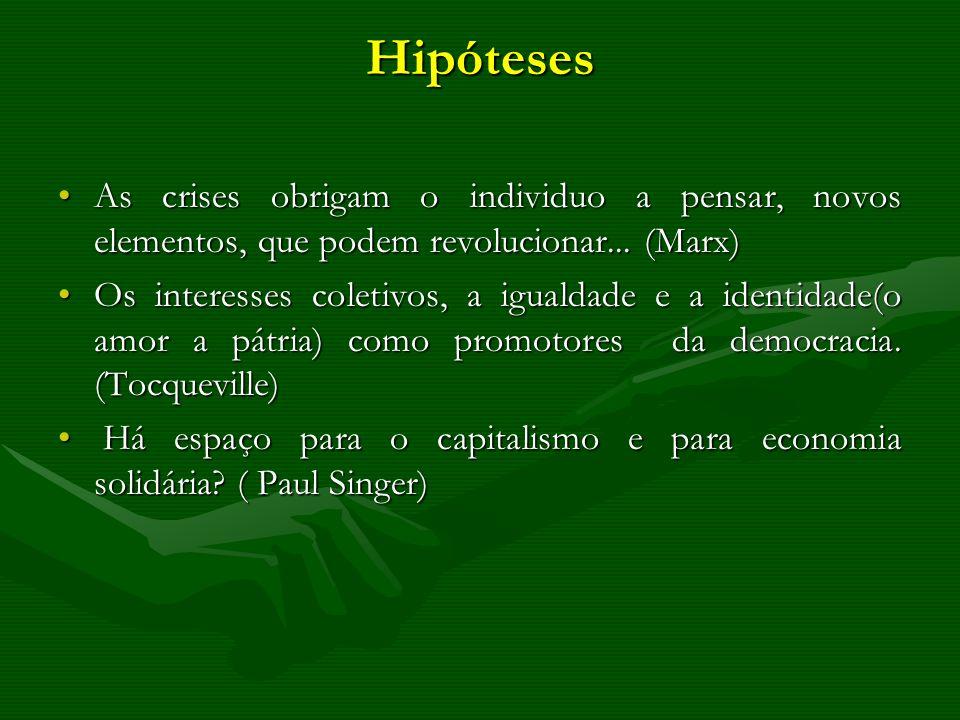 Hipóteses As crises obrigam o individuo a pensar, novos elementos, que podem revolucionar... (Marx)