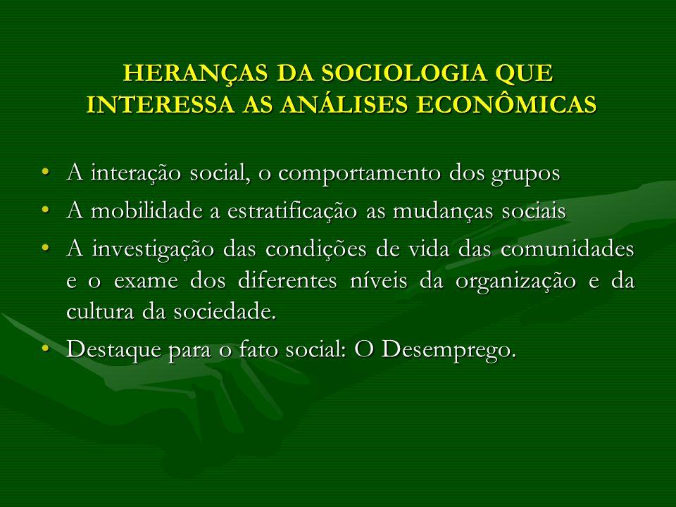 HERANÇAS DA SOCIOLOGIA QUE INTERESSA AS ANÁLISES ECONÔMICAS