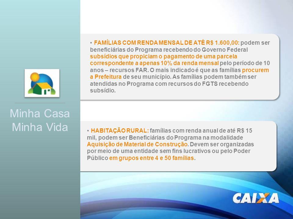 FAMÍLIAS COM RENDA MENSAL DE ATÉ R$ 1