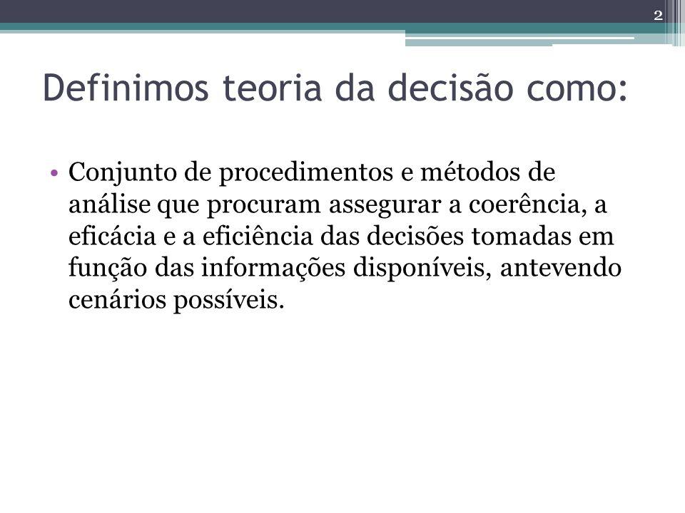 Definimos teoria da decisão como:
