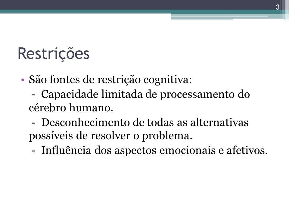Restrições São fontes de restrição cognitiva: