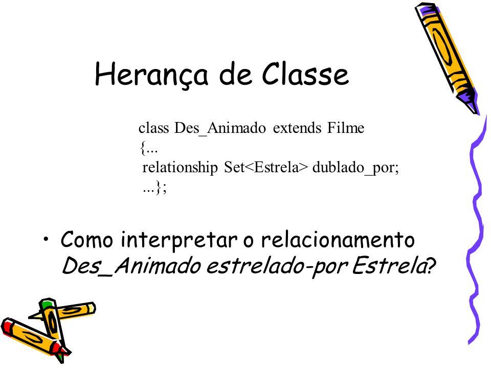 Herança de Classe Como interpretar o relacionamento Des_Animado estrelado-por Estrela class Des_Animado extends Filme.