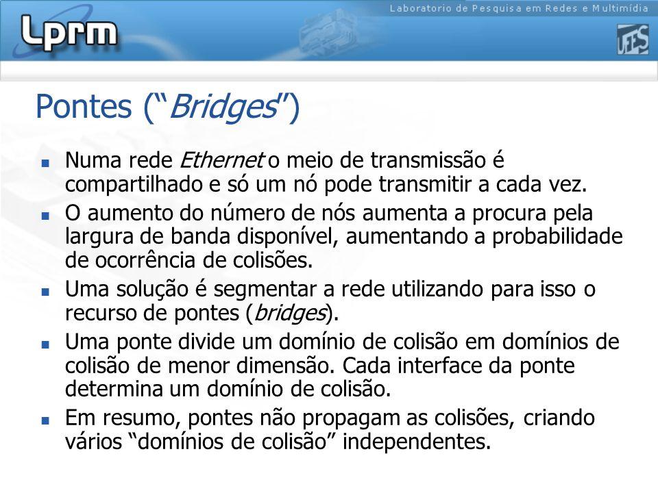 Pontes ( Bridges ) Numa rede Ethernet o meio de transmissão é compartilhado e só um nó pode transmitir a cada vez.
