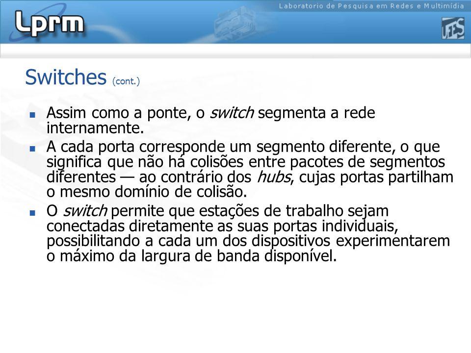 Switches (cont.) Assim como a ponte, o switch segmenta a rede internamente.