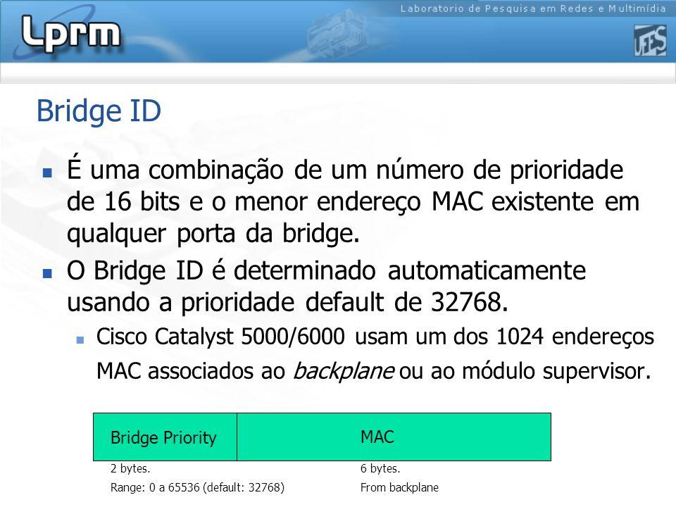 Bridge ID É uma combinação de um número de prioridade de 16 bits e o menor endereço MAC existente em qualquer porta da bridge.